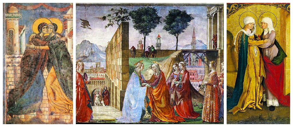 """Встреча Марии и Елисаветы (Лк. 1, 39-56), состоявшаяся сразу после Благовещения, не только укрепила Богородицу в Ее служении, не только прославила Ее родственницу как пророчицу и мать пророка, но и показала христианину, что ребенок от зачатия избран и любим Богом. """"Иоанн, когда еще был в чреслах Захарии, - пишет преподобный Ефрем Сирин, - подобно и Левию в чреслах Авраама, уже служил Господу и ожидал Его, как цвет месяца арекк, молчаливо возвещающий о грозди, которая источена среди Иерусалима""""."""
