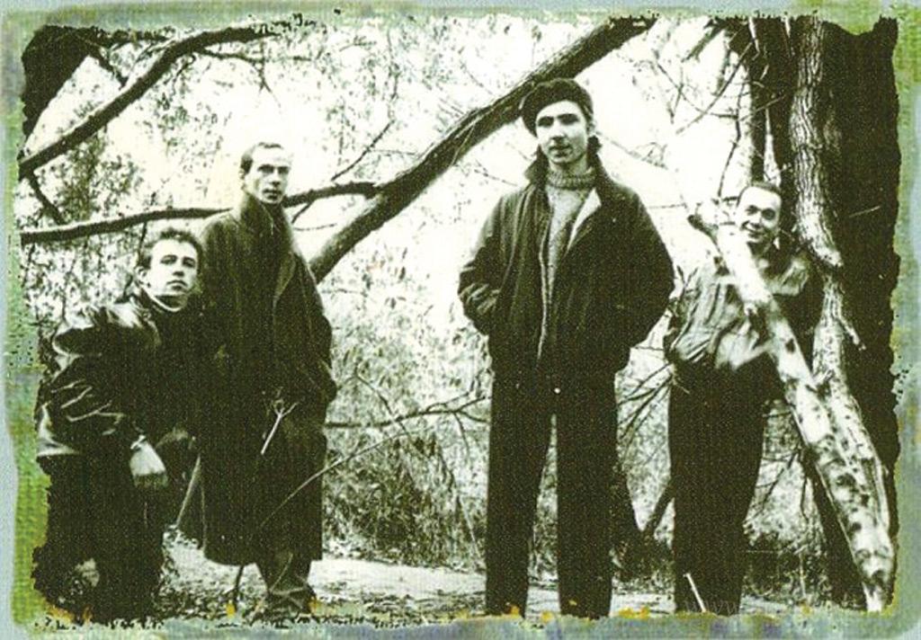 Группа «Джунгли»: А. Отряскин, П. Литвинов, М. Бомштейн, И. Тихомиров. Конец 1980-х