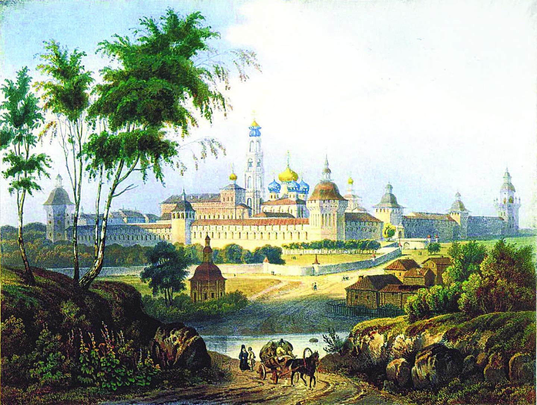 Л.П.А. Бишебуа. Вид Свято-Троицкой Сергиевой лавры. Литография. 1840-е годы