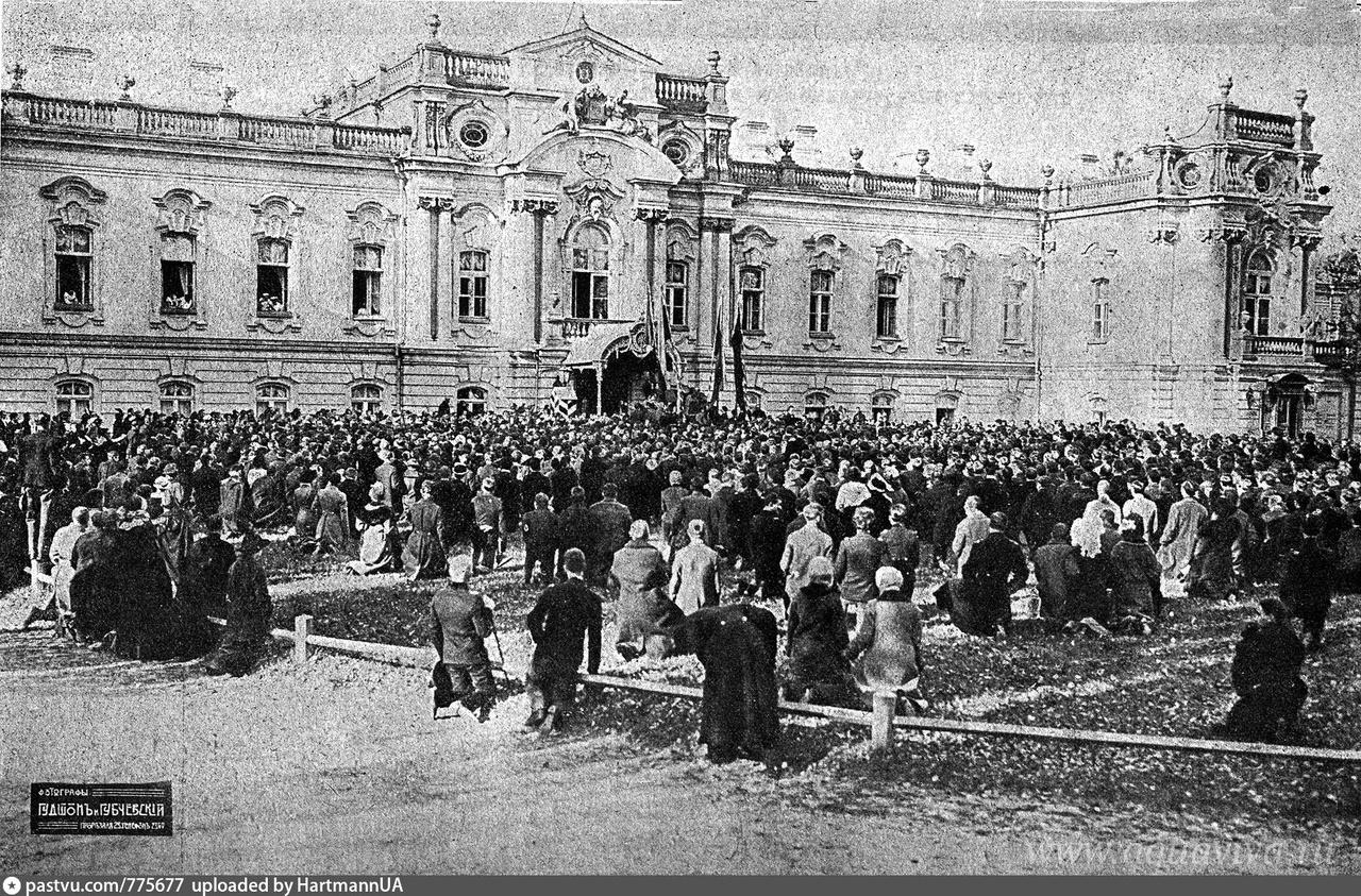 Манифестанты перед Мариинским дворцом. Киев. 1915 год