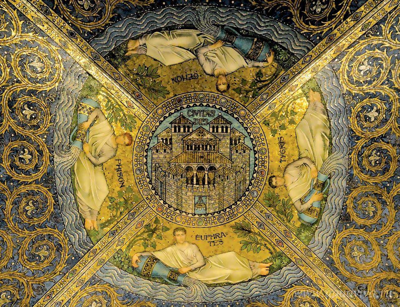Град Божий. Мозаика в кафедральном соборе Аахена. IX век