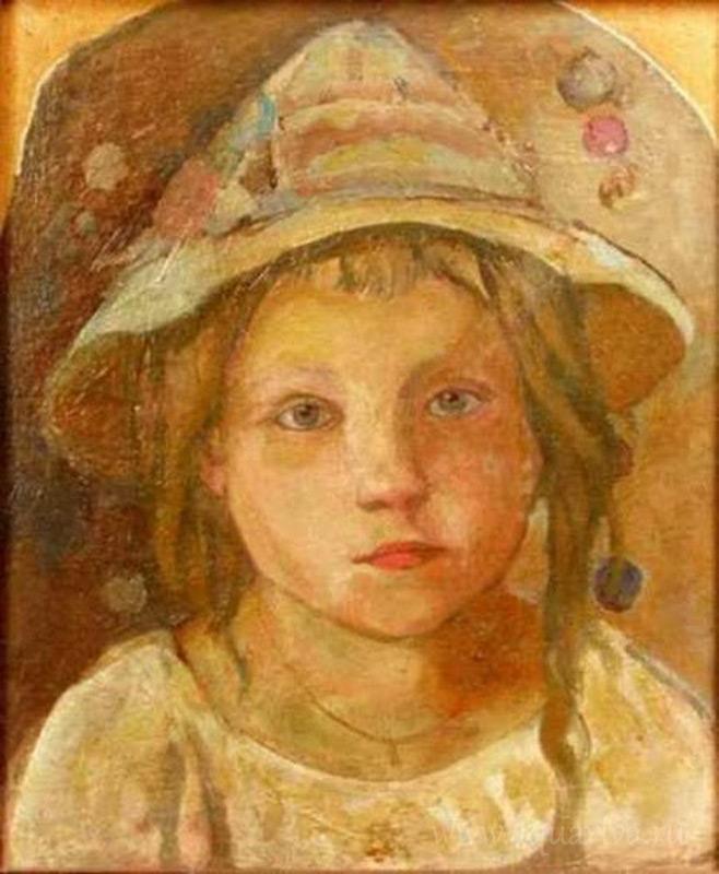 Е. В. Честняков. Девочка в шляпе