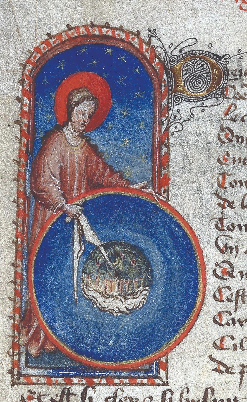 Бог-геометр, творящий мир. Иллюстрация к сочинению Готье де Меца «Образ мира». Франция. XV век
