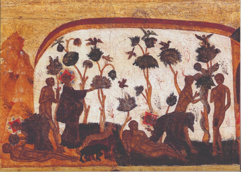 Сотворение Адама и Евы и грехопадение. Клеймо иконы «Святая Троица в бытии». Сольвычегодск. 1580-е годы
