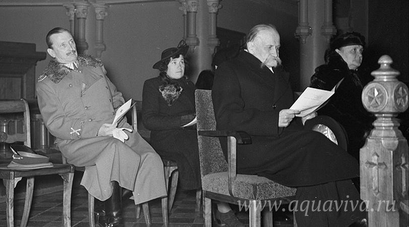 Карл Густав Маннергейм на концерте, организованном Финским красным крестом, в церкви святого Иоанна. Хельсинки. 1 ноября 1939 года