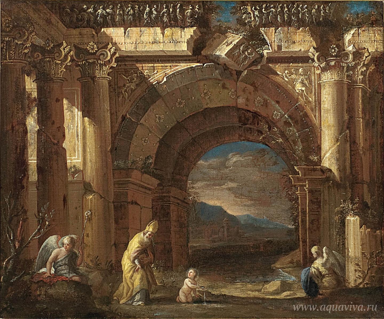 Асканио Лучиано. Видение блаженного Августина в разрушенной арке. 1669–1691 годы