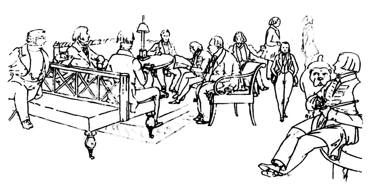 Московский литературный салон А. П. Елагиной, место сбора славянофилов. Изображены (слева направо): Д. Н. Свербеев, Д. А. Валуев, Н. Ф. Павлов, И. В. Киреевский, А. С. Хомяков, А. А. Елагин, К. С. Аксаков, С. П. Шевырев, А. Н. Попов, В. А. Елагин, П. В. Киреевский (рядом бульдог Булька). Рисунок Э. А. Дмитриева-Мамонова. Первая половина 1840-х годов