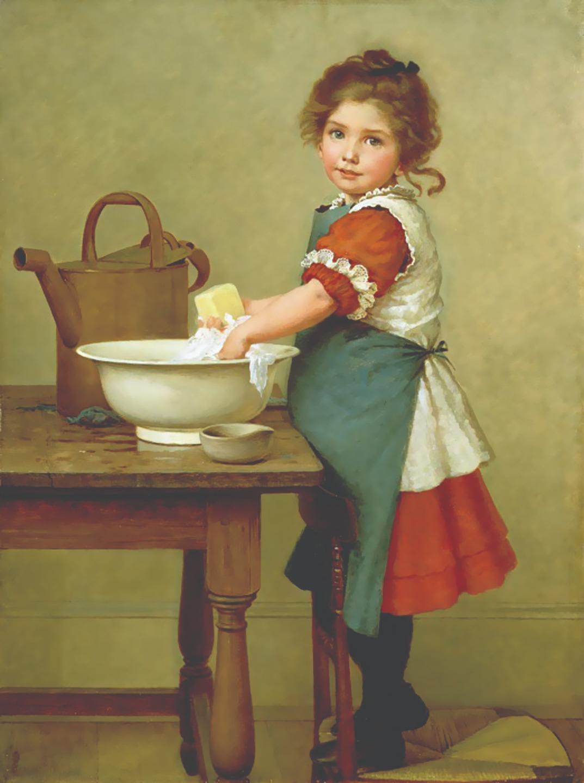 Джордж Данлоп Лесли. Вот как мы стираем нашу одежду. 1887 год