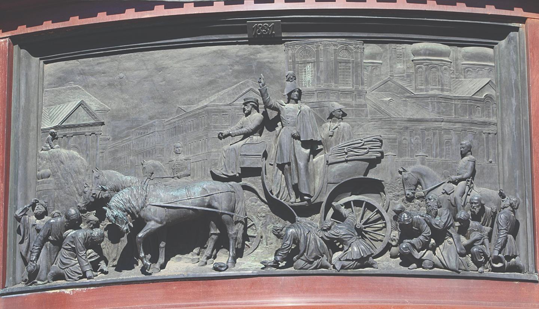 Усмирение холерного бунта. Барельеф памятника Николаю I на Исаакиевской площади. 1856 год