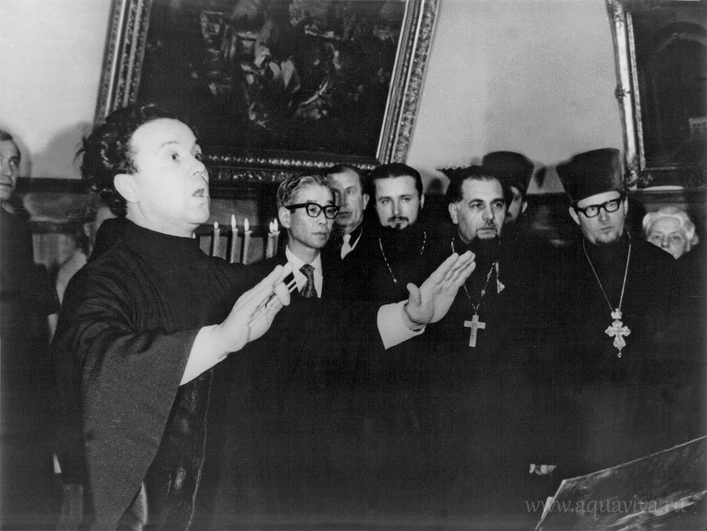 Выступление хора под управлением протодиакона Павла Герасимова в ЛДА перед иностранной делегацией. 1980-е годы