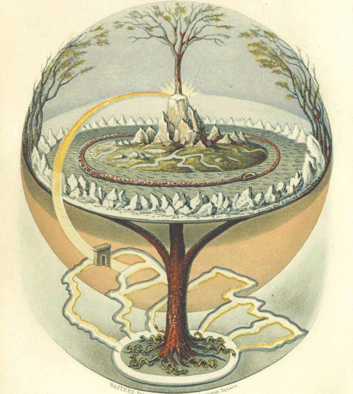 Олаф Олафсен Багге. Мировое древо. Иллюстрация к английскому переводу Младшей Эдды. 1847 год