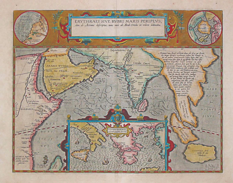 Карта с указанием топонимов из «Перипла Эритрейского моря». 1597 год