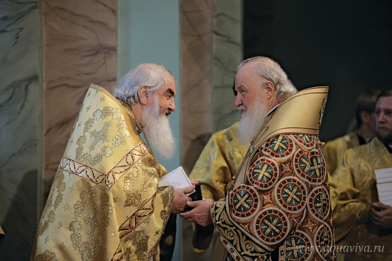 Протоиерей Николай Коньков и Святейший Патриарх Кирилл, 12 июля 2017 года. Фото Александра Сетракова