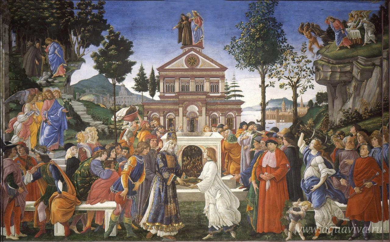 Сандро Боттичелли. Искушение Христа. Фреска. 1480–1482 годы
