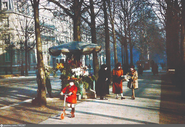Торговка цветами на улице Гош. Париж. 1924 год