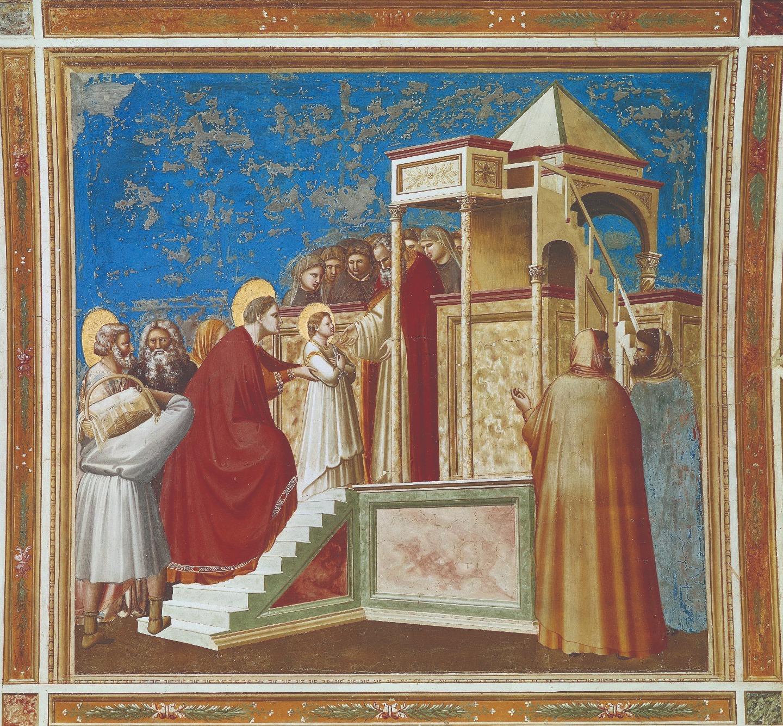 Джотто. Фреска «Введение во Храм». Святая Анна поддерживает свою малютку-дочь. Капелла Скровеньи в Падуе. 1303−1305 годы
