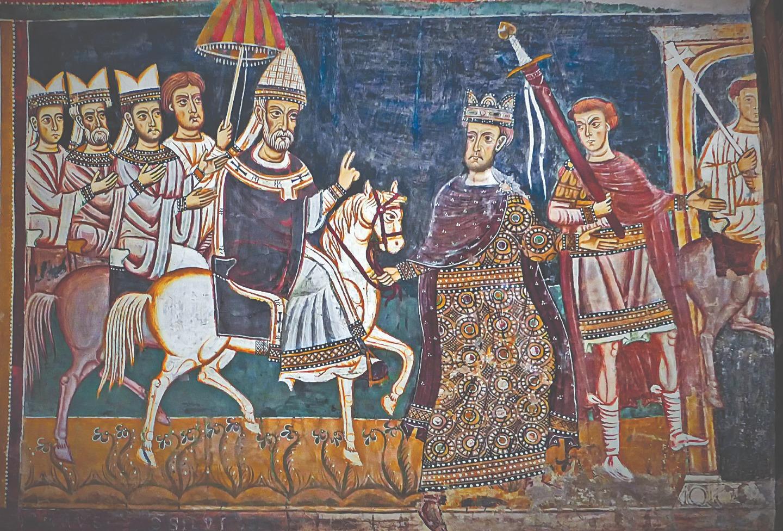 Константин I ведет под уздцы коня, на котором восседает папа Сильвестр I. Фреска капеллы Сан-Сильвестро в римском монастыре Санти-Куаттро-Коронати. До 1247 года