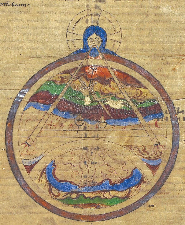 Бог-Творец. Иллюстрация к книге Бытия. Кентербери (Англия). XI век
