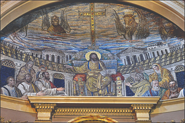Христос на троне среди апостолов. Мозаика апсиды церкви святой Пуденцианы в Риме. Около 420 года