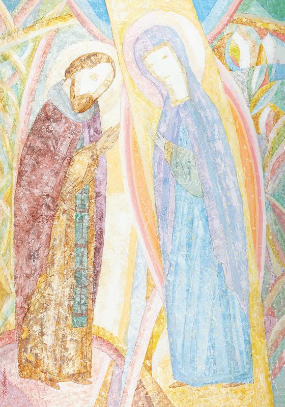 «Явление Богоматери преподобному Сергию». Юрий Люкшин. 2007 год. Бумага, смешанная техника. 83,5 х 59