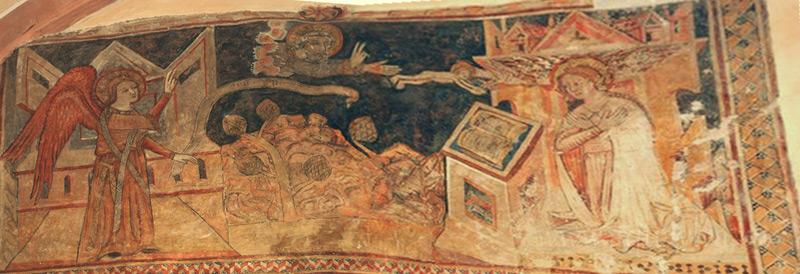 Благовещение (фреска). Горянская ротонда - церковь св. Анны (Ужгород). XIV век.