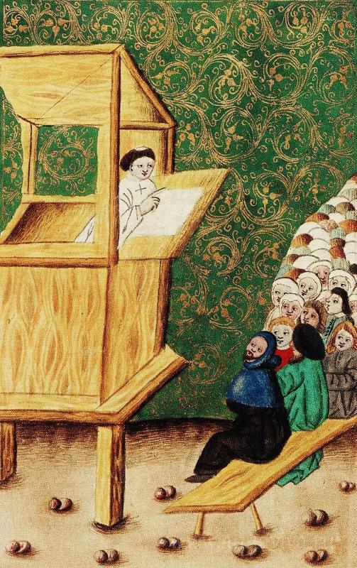 Проповедь Яна Гуса. Иллюстрация рукописи 1490 г.