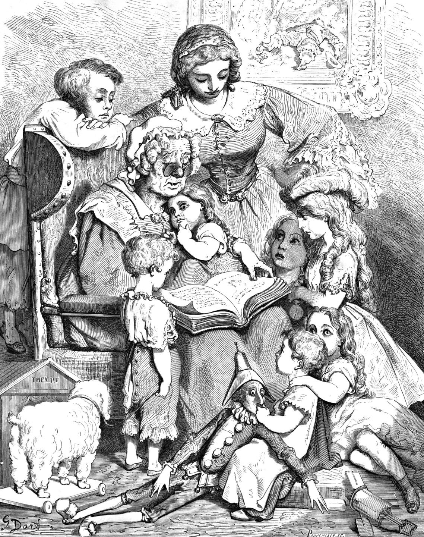 Густав Доре. Матушка Гусыня читает сказки. Иллюстрация к сборнику Ш. Перро. 1866 год