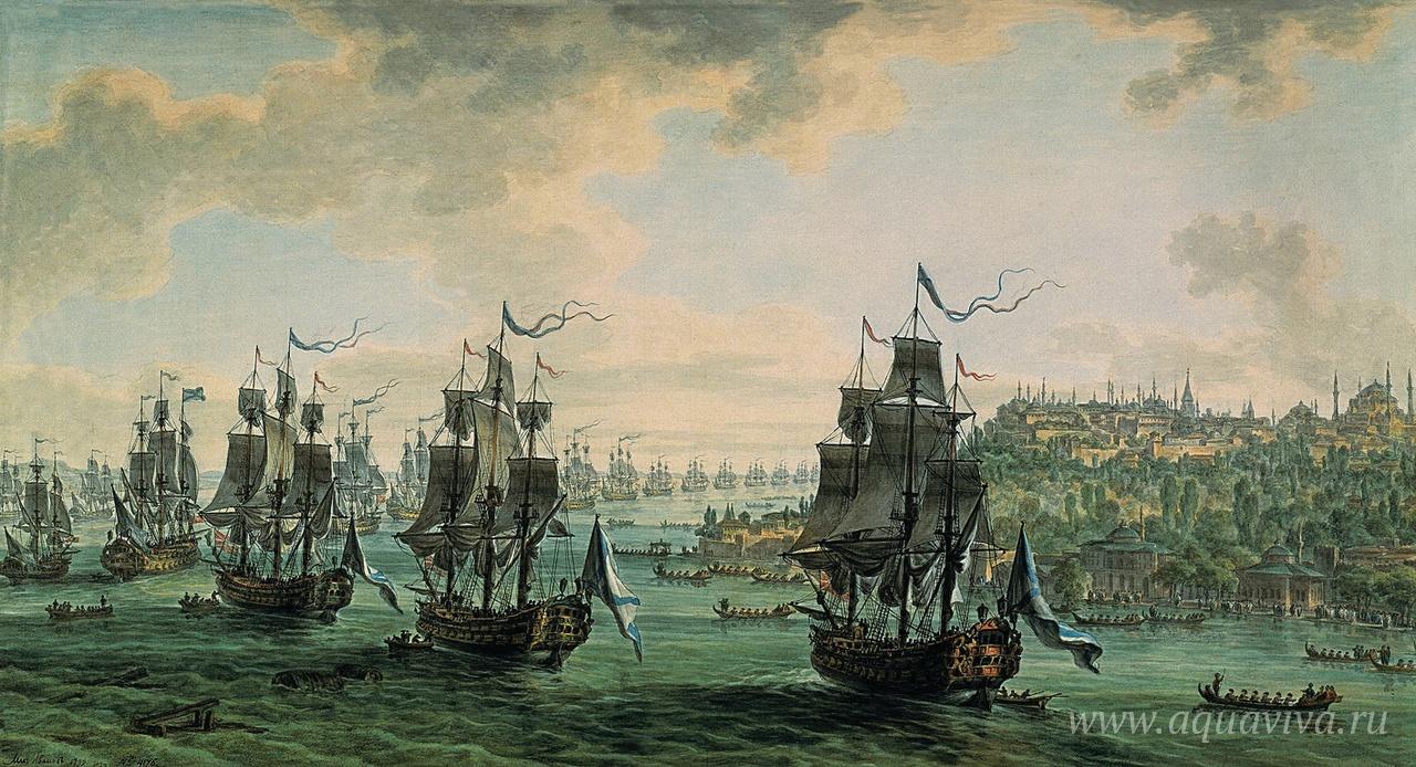 М. М. Иванов. Российская эскадра под командованием Ф. Ф. Ушакова, идущая Константинопольским проливом 8 сентября 1798 года. 1799 год