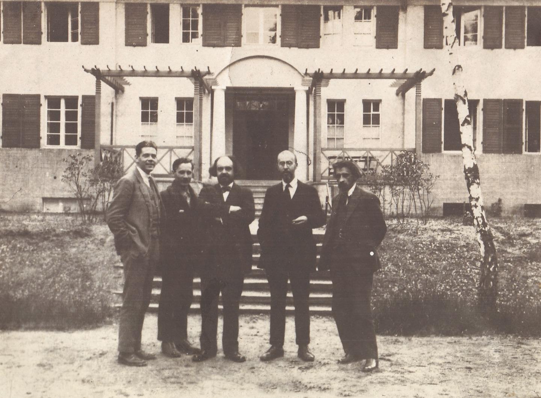 Слева направо: Г.Г. Кульман, Ф.Т. Пьянов, Н.А. Бердяев, С.Л. Франк, Л.П. Карсавин. Конференция Христианского движения. Рига. 1928 год
