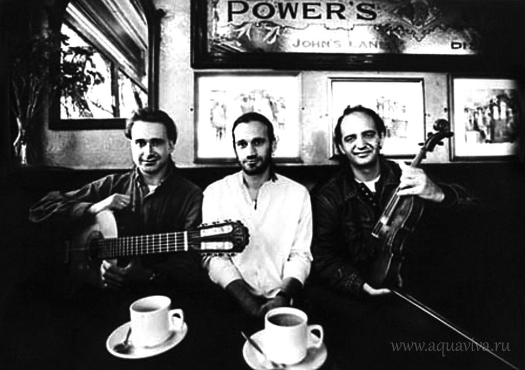 Первый состав трио «Лойко» — гитарист Вадим Кулицкий, скрипач Олег Пономарёв (в центре) и лидер группы Сергей Эрденко в Дублине