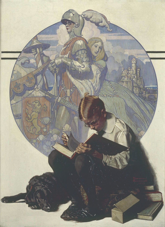 Норман Роквелл. Мальчик, читающий приключенческий роман. 1923 год