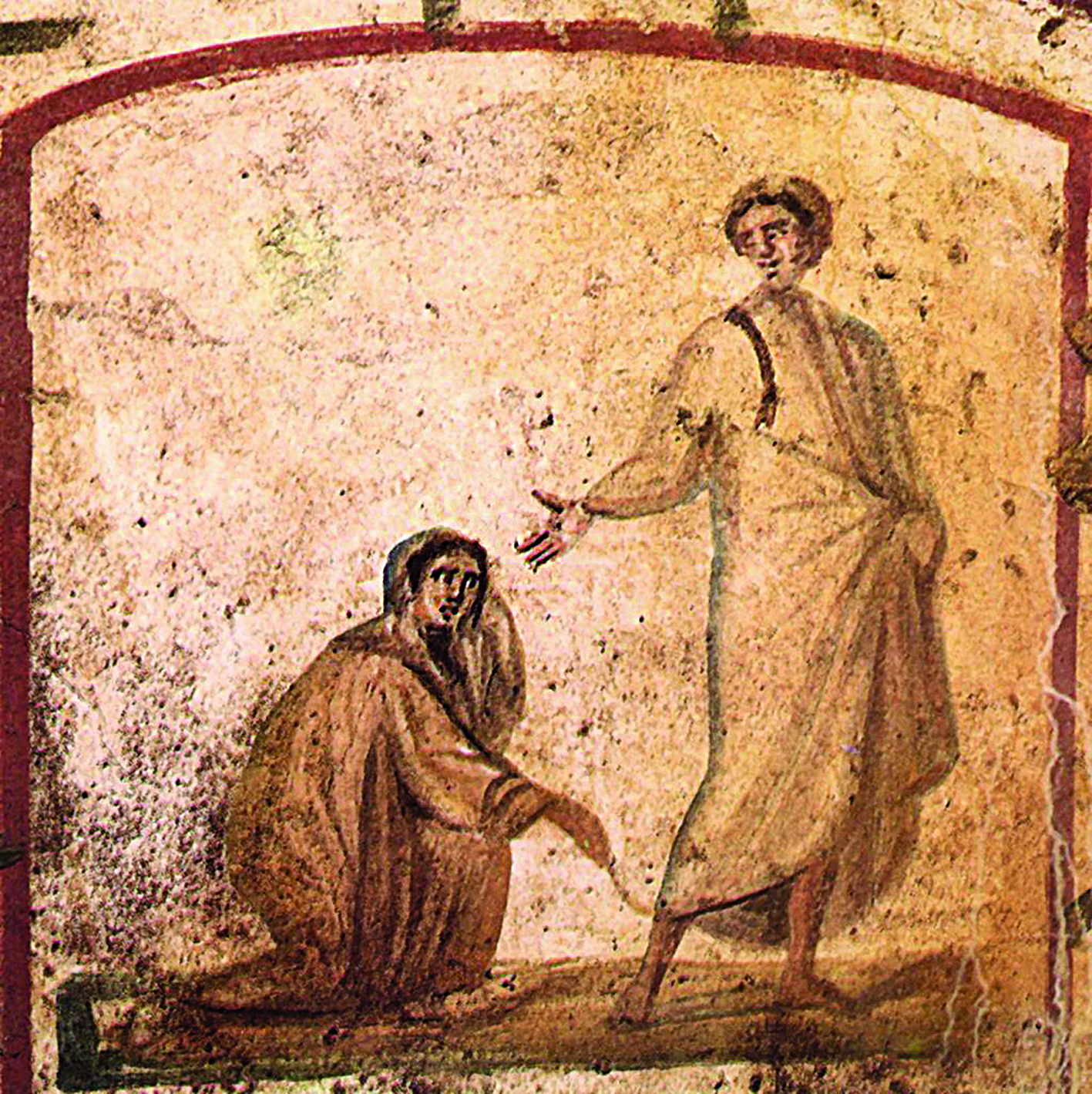 Исцеление кровоточивой. Катакомбы Петра и Марцеллина. Рим. III–V века