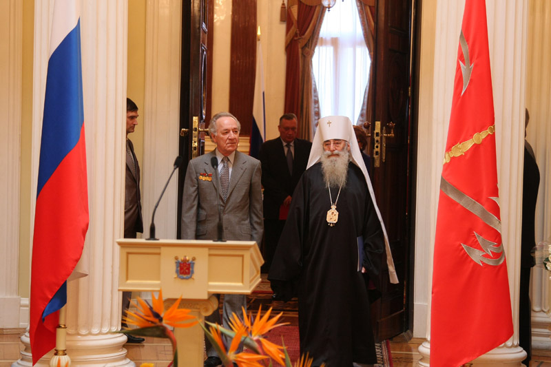 26 мая 2009 года. Митрополит Владимир и Юрий Темирканов во время торжественной церемонии награждения знаком «Почетный гражданин Санкт-Петербурга» в Законодательном собрании Санкт-Петербурга.
