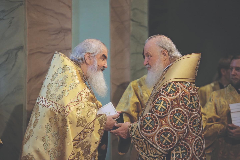 Протоиерей Николай Коньков и Святейший Патриарх Кирилл. 12 июля 2017 года. Фото Александра Сетракова