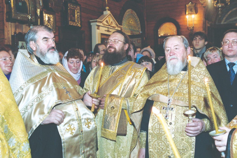 Протоиерей Николай Коньков, диакон Михаил Преображенский (ныне иерей) и протоиерей Василий Ермаков