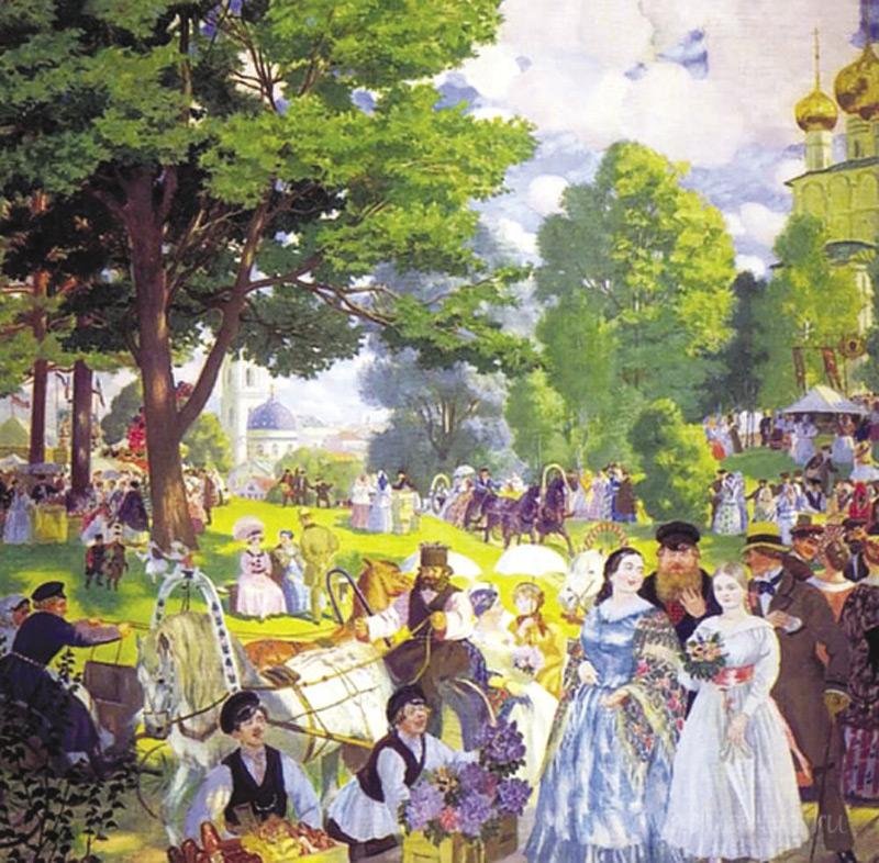 Особой приметой праздника Троицы прежде были цветы. В этот день их можно было увидеть не только в храме, но и в руках каждой дамы, прогуливающейся по праздничной улице. Эта особенность праздника передана на картине Бориса Кустодиева «Троицын день» (1920)