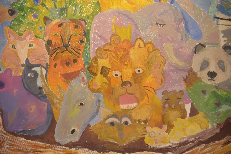 Часть картины «Ноев ковчег», созданной учениками Валерии Лошак.