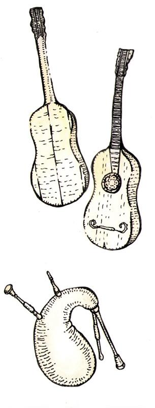 Сверху вниз на иллюстрации: гитара (ее прототипом был библейский невел); волынка (на нее походила «симпония» книги Даниила)