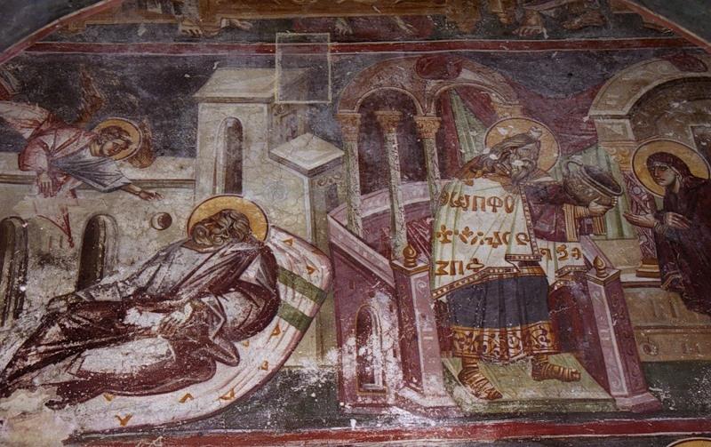 Горькая вода. Фреска церкви Перивлепты Охридской (Македония, 1295 г.)